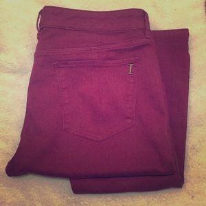 Isaac Mizrahi skinny jeans, berry, size 14